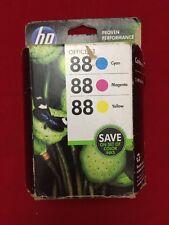 HP 88 Cyan Magenta & Yellow Ink Cartridges Comb Pack (CC606FN) Genuine!
