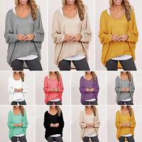 Damen Lose Tunika Strick Pullover Pulli Bluse Winter Fledermaus Sweatshirt Hemd