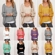 Women Oversized Loose Long Sleeve Shirt Batwing Jumper Pullover Baggy Blouse S
