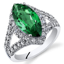 3.00Ct Marquis Emerald Sterling Silver Ring Sizes 5 to 9 SR11100