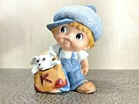 Vintage Homco Boy with Dog Porcelain Figurine