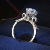 2ct Round Cut Luxury Topaz Cz Band Women's 925 Silver Wedding Gift Ring Size 4-9