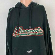 Reebok Minnesota Wild Pullover Hoodie Sweatshirt NHL Hockey Black Sewn Size XL