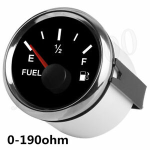 Silver 52MM Fuel Tank Level Gauge 0-190 ohm Pointer For Car Truck ATV UTV Boat