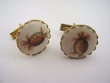 Vintage Cufflinks Jewelry: Ceramic Pineapple Design