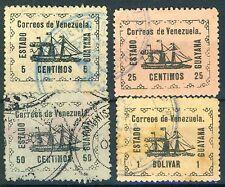 4 TIMBRES DU VENEZUELA OBLITERES Y&T N° 87-89-90-91
