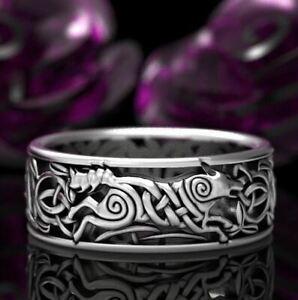 Viking Celtic Nordic Wolf Ring - UK Seller