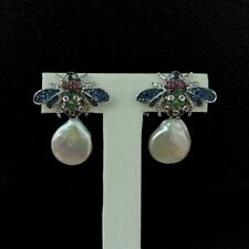 White Coin Pearl White Gold Plated Battle CZ Earrings