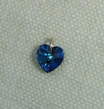 Crystal Heart Charm - Silver Jumpring & Made with SWAROVSKI -Burmuda Blue