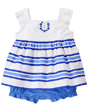 Gymboree Little Blue Island Striped Dress Outfit Infant Baby Girl 3-6 Months NEW