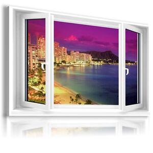 HAWAII WAIKIKI BEACH SEA 3D Window View Canvas Wall Art Picture  W160  MATAGA