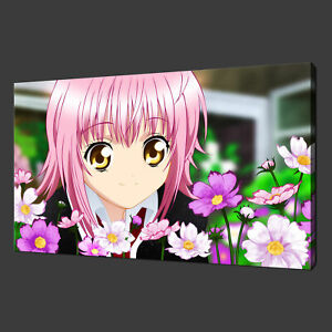 JAPANESE MANGA ANIME GIRL WITH FLOWERS CANVAS PRINT ART PICTURE READY TO HANG