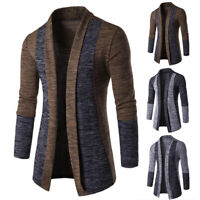 Mens Sweater Slim Long Sleeve Knitted Cardigan Trench Coat Jacket Business Suit