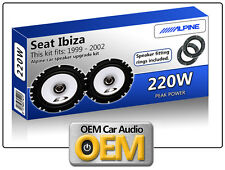 Seat Ibiza Rear Door speakers Alpine car speaker kit with Adapter Rings 220W