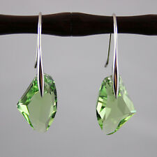 Peridot Green Crystal 925 Genuine Silver Earrings made with Swarovski Elements