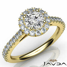 Gia F Vs1 18k Yellow Gold 1.72Ct Round Diamond Engagement French Cut Pave Ring