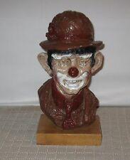 "Vintage Austin Prod. Inc 13 1/2"" Clown Sculpture on Wood Base 1964 FREE SHIPPING"