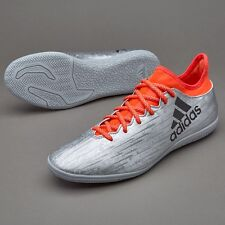 ADIDAS MEN'S SOCCER X 16.3 INDOOR FOOTBALL SOCCER SHOES SILVER BLACK INFRARED 12