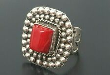 Vintage Sterling Silver Natural Red Coral Navajo band Ring size 7