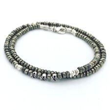 💀💀 Tateossian London Style Stunning Mens Bracelet Pyrite Sterling Skull 💀
