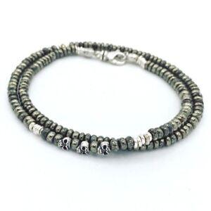 💀💀 John Varvatos Style Stunning Pyrite & Sterling Mens Skull Bracelet 💀
