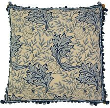 "22"" x 22"" Wool Needlepoint William Morris Blue Grape Leaves Pillow with Tassels"
