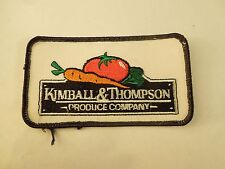 Vintage Kimball & Thompson Produce Advertising Uniform Embroidered Iron On Patch