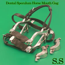 Equine Pony Dental Speculum Horse Mouth Gag Stainless Steel Leather