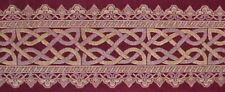 Silk Brocade Metallic Jacquard Border Trim Celtic Knot. Burgundy Deep Red 1 Yard