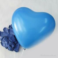 12 inch 100x Blue Color Heart Latex Thick Party Balloons 3.2g Helium Floating US
