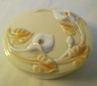 Porcelain Oval Trinket Box - Soft Yellow w/ White Calla Lily Flowers - Flawless