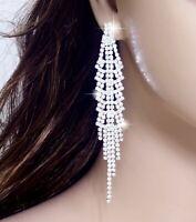"""#E121T Women 4"""" Long CLIP ON EARRINGS Sparkle Crystal Chandelier Drop Sexy 10cm"""