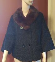 Vintage 1950s Black Persian Lambswool Coat w Mink Collar Size Large