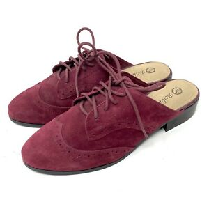 Bella Vita Women's Burgundy Red Suede Almond Toe Lace-Up Oxford Mules Size 9.5 W