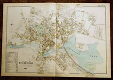 Antique Hand-Colored Map 1898 Village of Winchendon MA Massachusetts DETAILED