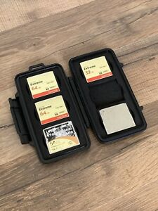 Lot 5 CF Cards with Pelican Case 64GB and 32GB Lexar and Sandisk Extreme