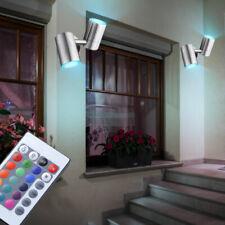 2er Set RGB LED Extérieur Pivotant Télécommande Acier Inoxydable Eclairage Mural