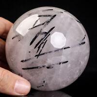 750g 81mm Large Natural Black Tourmaline Quartz Crystal Sphere Healing Ball