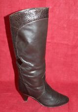 80er 80s vintage true vtg Femmes Bottes En Cuir Leather Boots 38 noir véritable cuir
