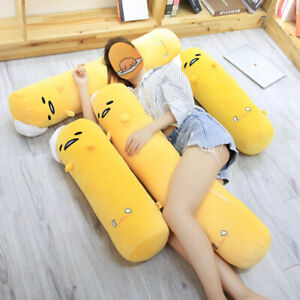 Cute Gudetama Round Bed Pillow the Lazy Egg Plush Toy Roll Throw Pillow Plushies