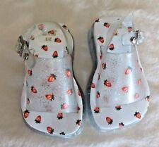 Baby Girls Sandals Jelly Platform Wht & Strawberries Snap Strap Sz 2/3  #454