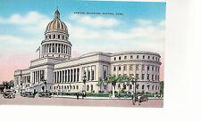 Capitol Building  Street View    Havana  Cuba  Unused Linen Postcard 8214
