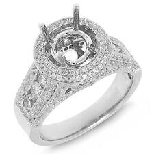 Round Shape Semi Mount Diamond Engagement Ring 18k White Gold Halo Setting
