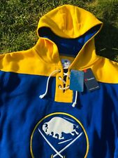 Authentic Buffalo Sabres Fanatics Throwback Lace-Up Pullover Hoodie Sweatshirt