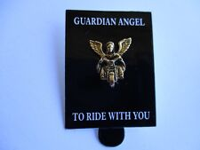Gold Guardian Angel To Ride With You - Lapel Pin Badge - biker Motorcycle Vest
