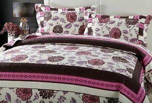 DaDa Bedding Bohemian Pink Purple Brown Floral Bedspread Set - Cal King Size