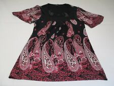 M&S PRETTY BLACK & PINK TALL PAISLEY PRINT CAPPED SLEEVE DRAPEY JERSEY TOP UK 8