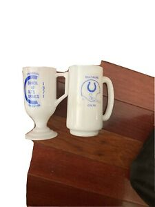 Baltimore Colts Milk Glass Mugs An Indianapolis Corral 1971 Glass