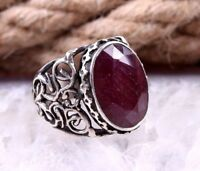 NATURAL Red Ruby Stone Turkish Handmade 925 Sterling Silver Mens Ring ALL SİZE