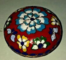 "Vtg Bright Colored Flowers Round Cloisonne Brass Trinket Treasure Box 1 1/4"" T"